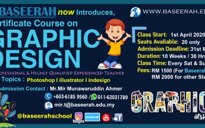 Advance Graphic Designing Certificate Course starting from 1st of April 2020