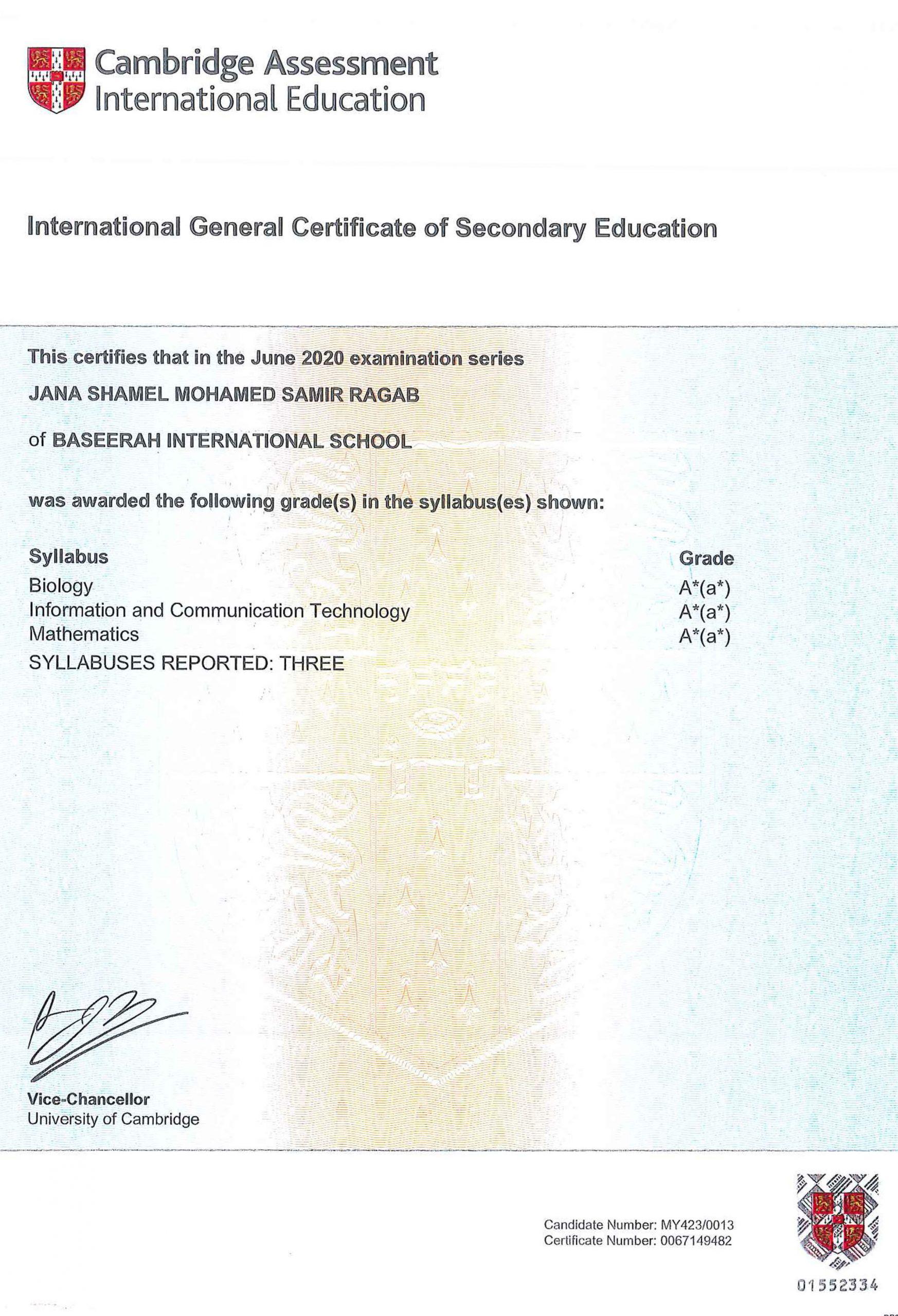 Jana Shamel Mohamed High Achievement Award for Cambridge IGCSE
