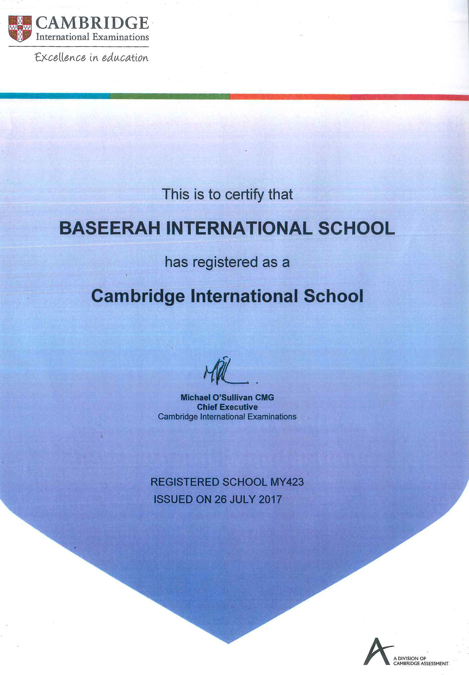 Registration Certificate as Cambridge International School