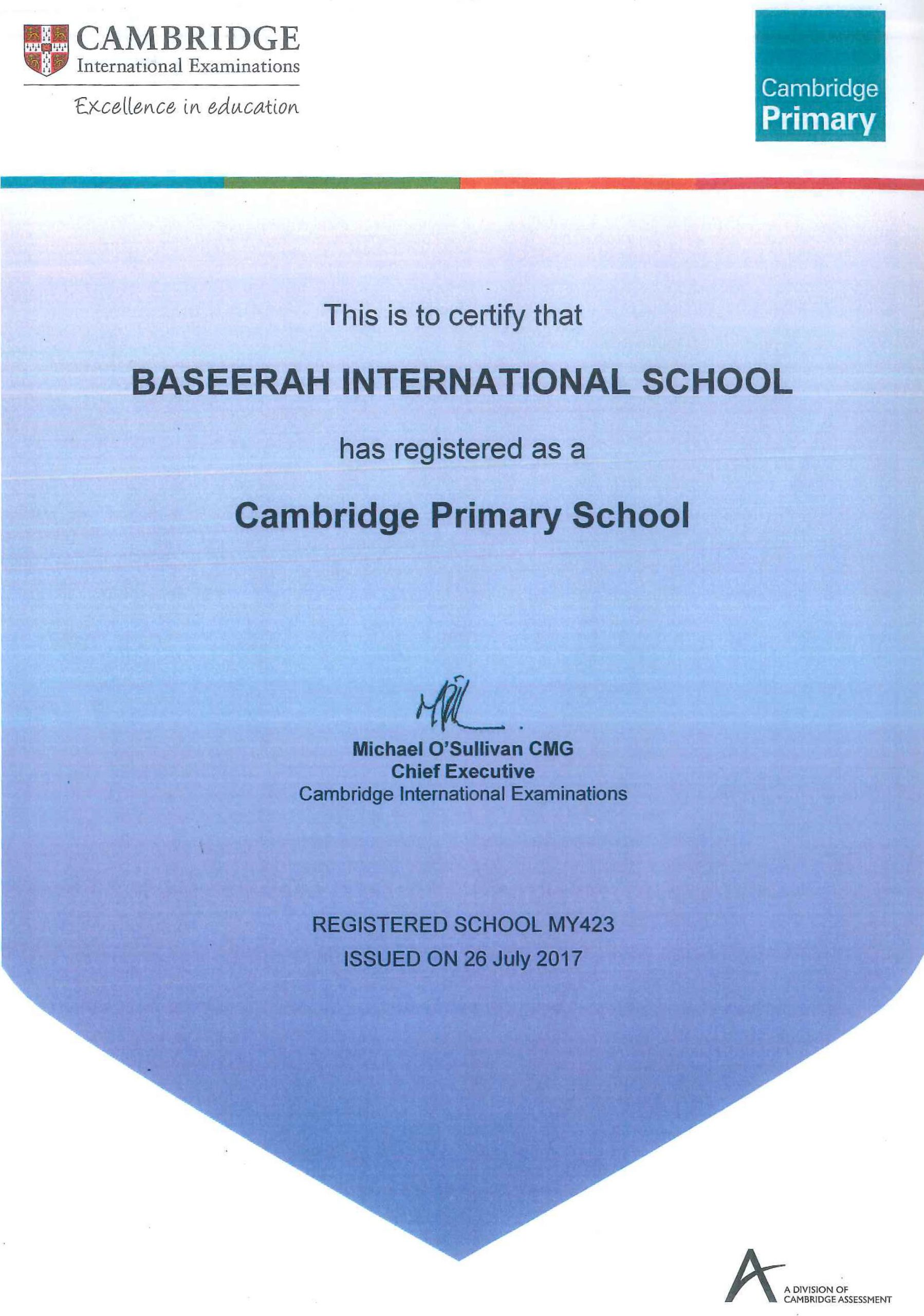 Registration Certificate as Cambridge Primary School